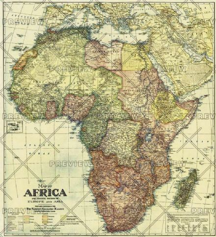Africa Map with portions of Europe and Asia - Published 1922 by National Geographic